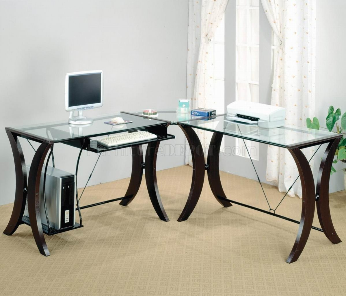 clear glass top espresso base modern home office desk crod 800446