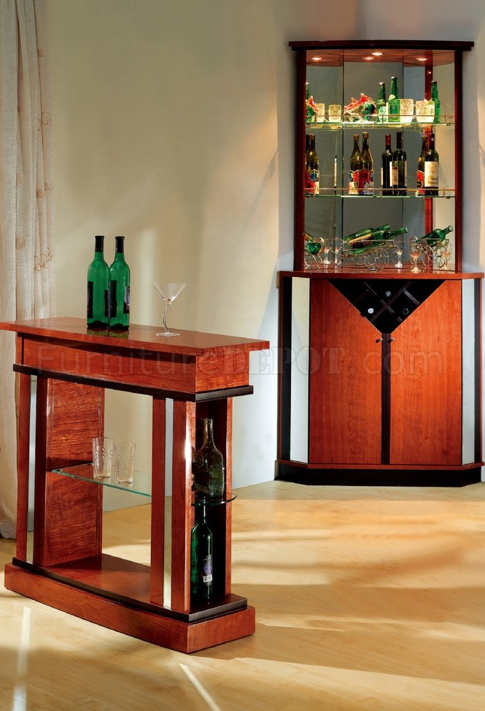 Cherry Contemporary Bar Table W Glass Shelves