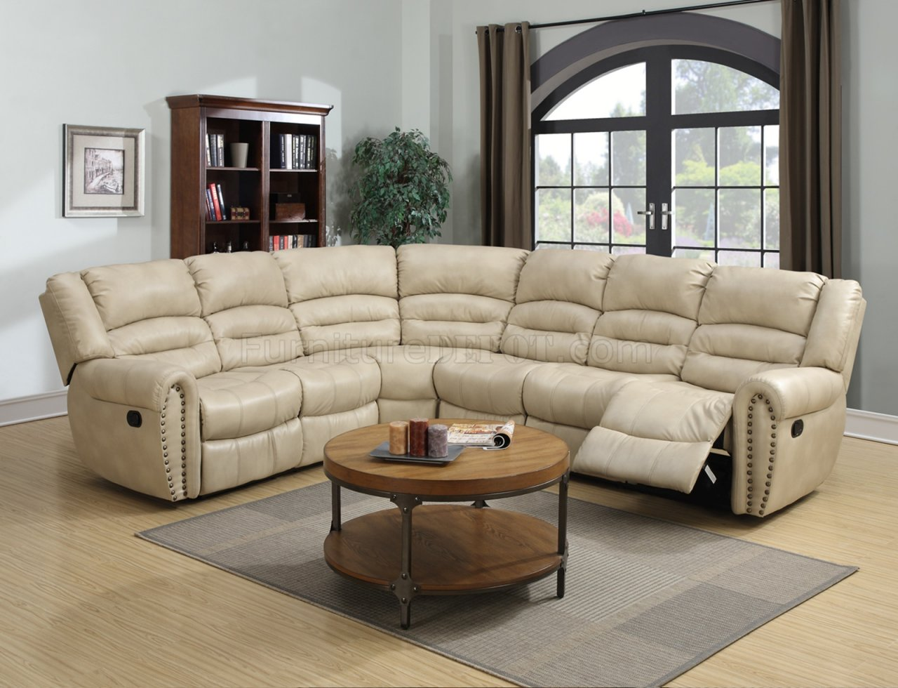 G687 Motion Sectional Sofa in Beige Bonded Leather by Glory