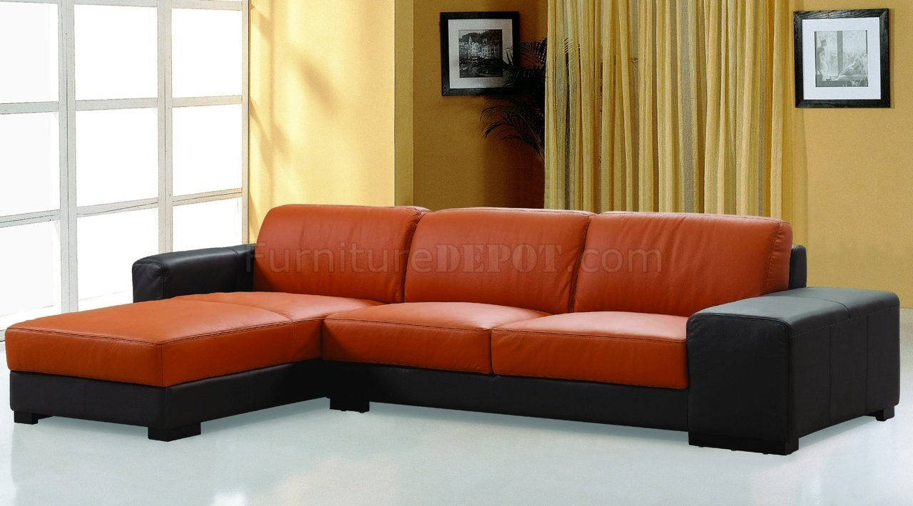 dico sectional sofa in brown orange leather by beverly hills. Black Bedroom Furniture Sets. Home Design Ideas