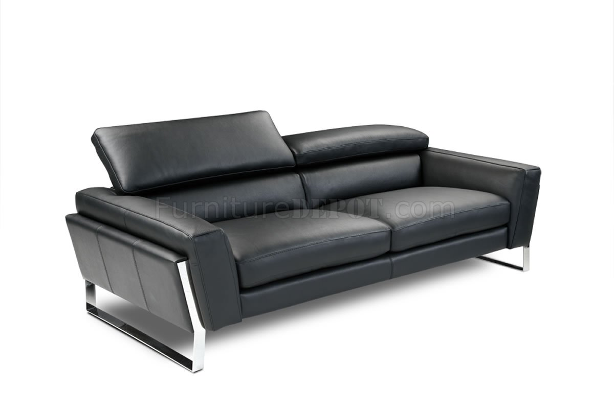 Black Top Grain Italian Leather Modern Sofa W Optional Loveseat