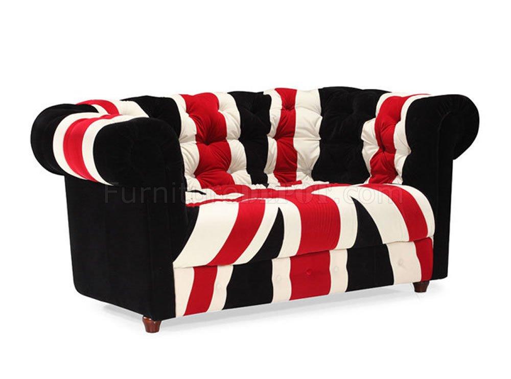 Union Jack Fabric Modern Sofa U0026 Loveseat Set W/Options