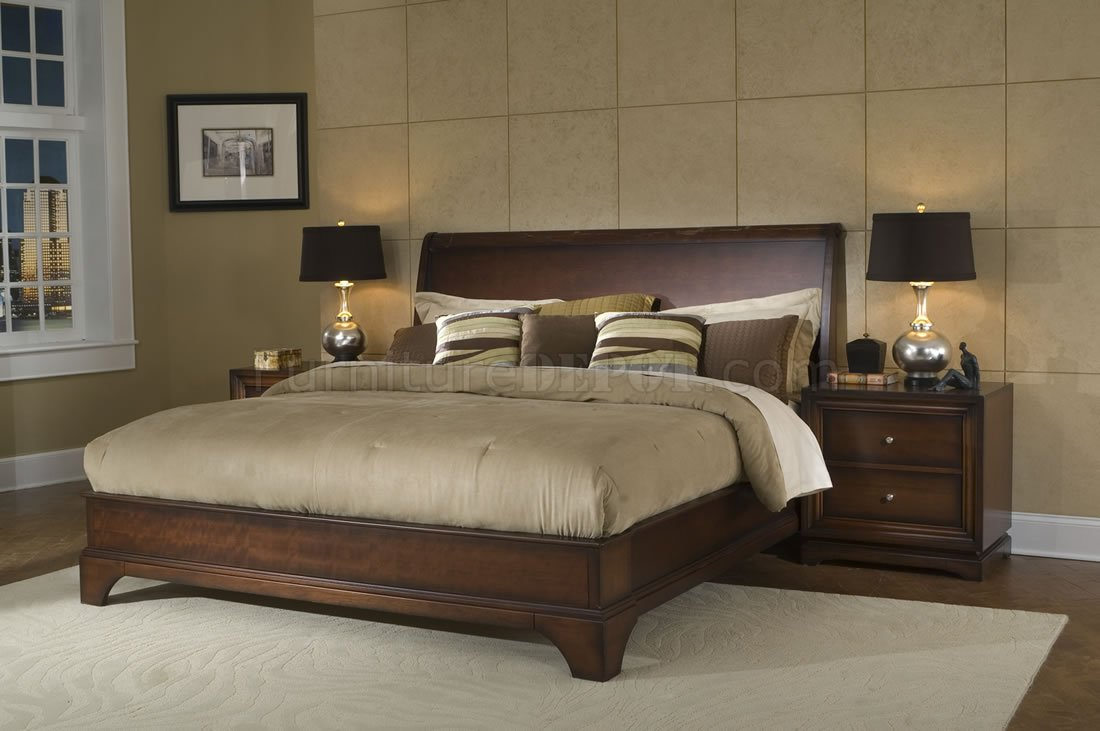 - Antique Walnut Finish Contemporary Massive Wood Bed
