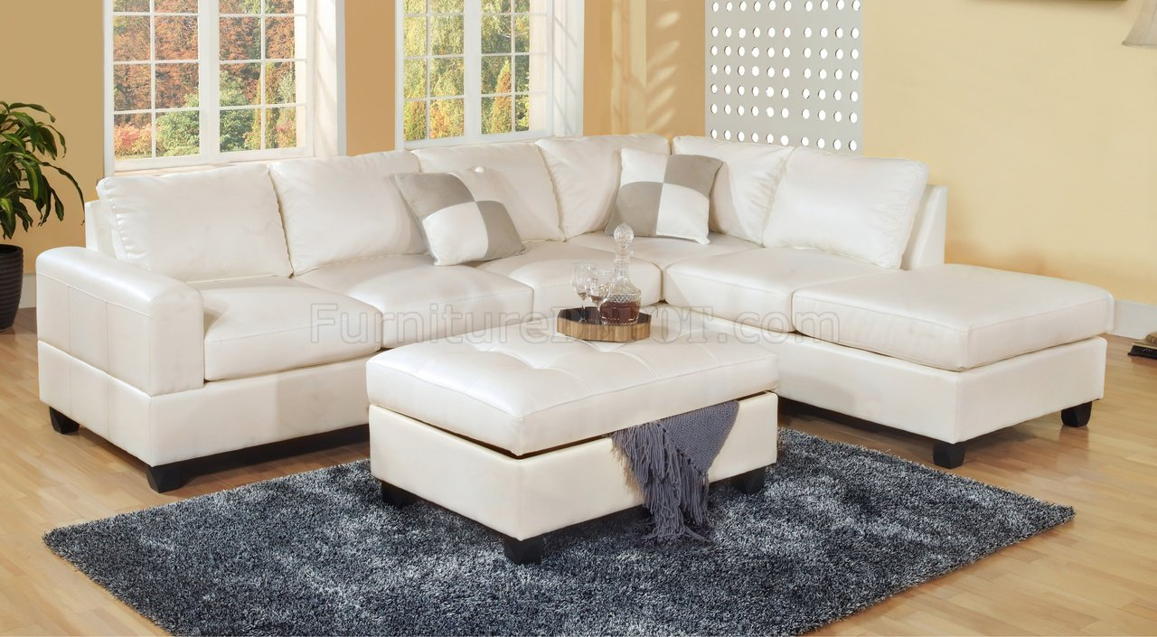 & White Bonded Leather Modern Sectional Sofa w/Storage Ottoman