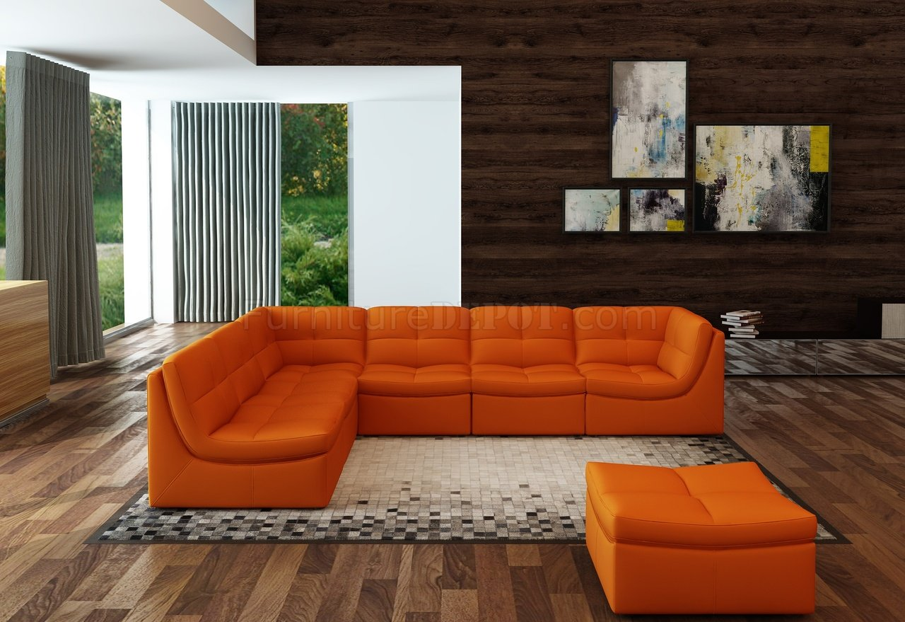 Lego Modular Sectional Sofa 7pc Set In Pumpkin Leather By J Amp M