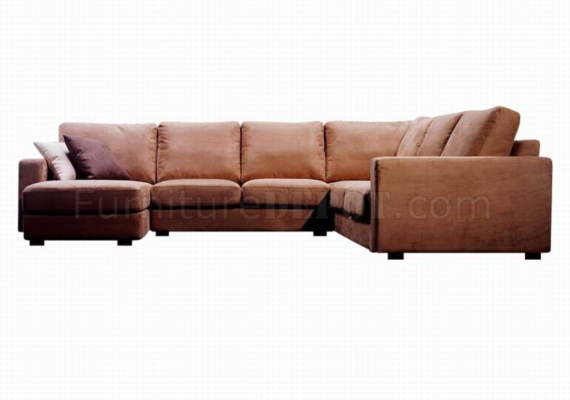 Brown Microfiber Modern 4Pc Sectional Sofa