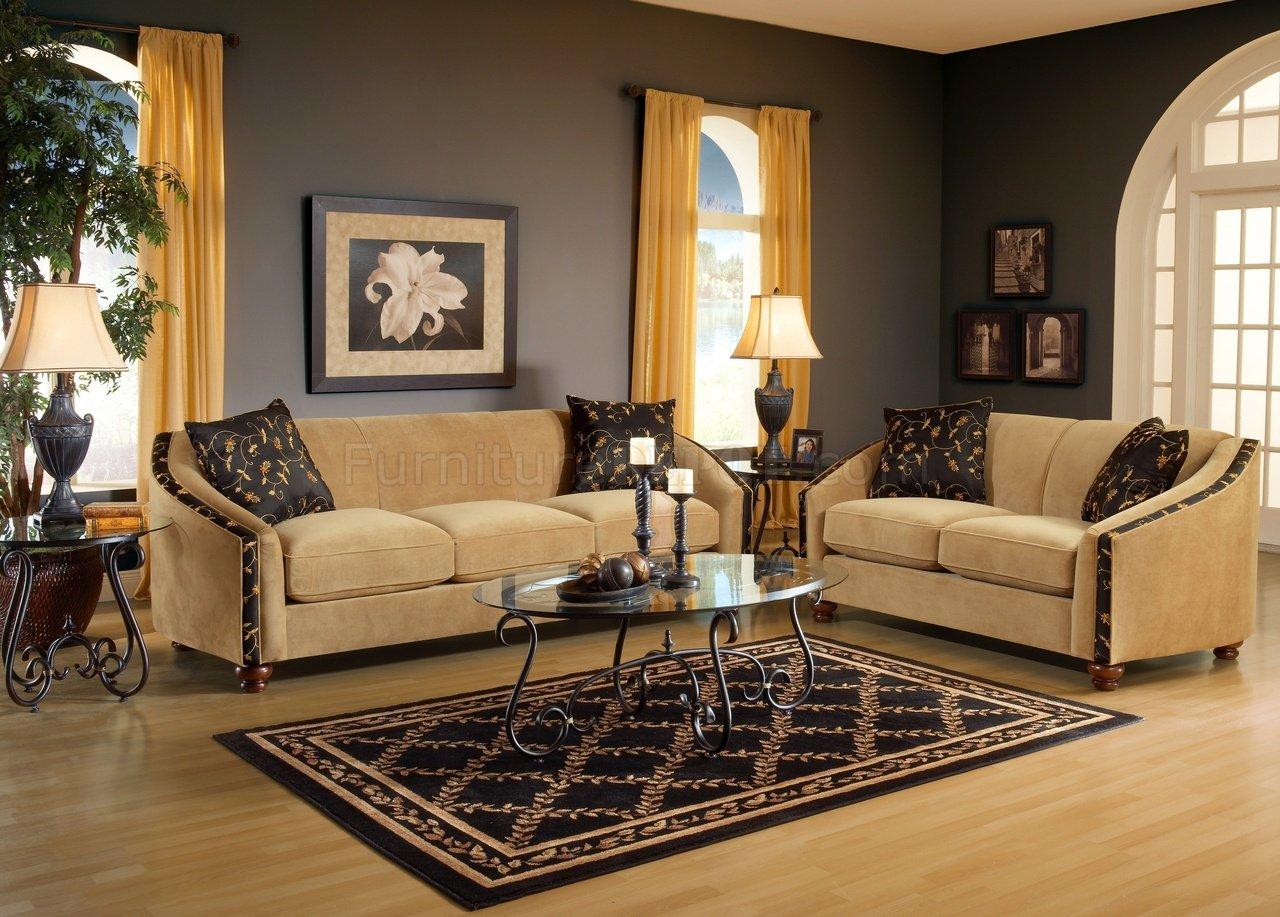 Bella Coffee Beige Fabric Living Room Sofa & Loveseat Set