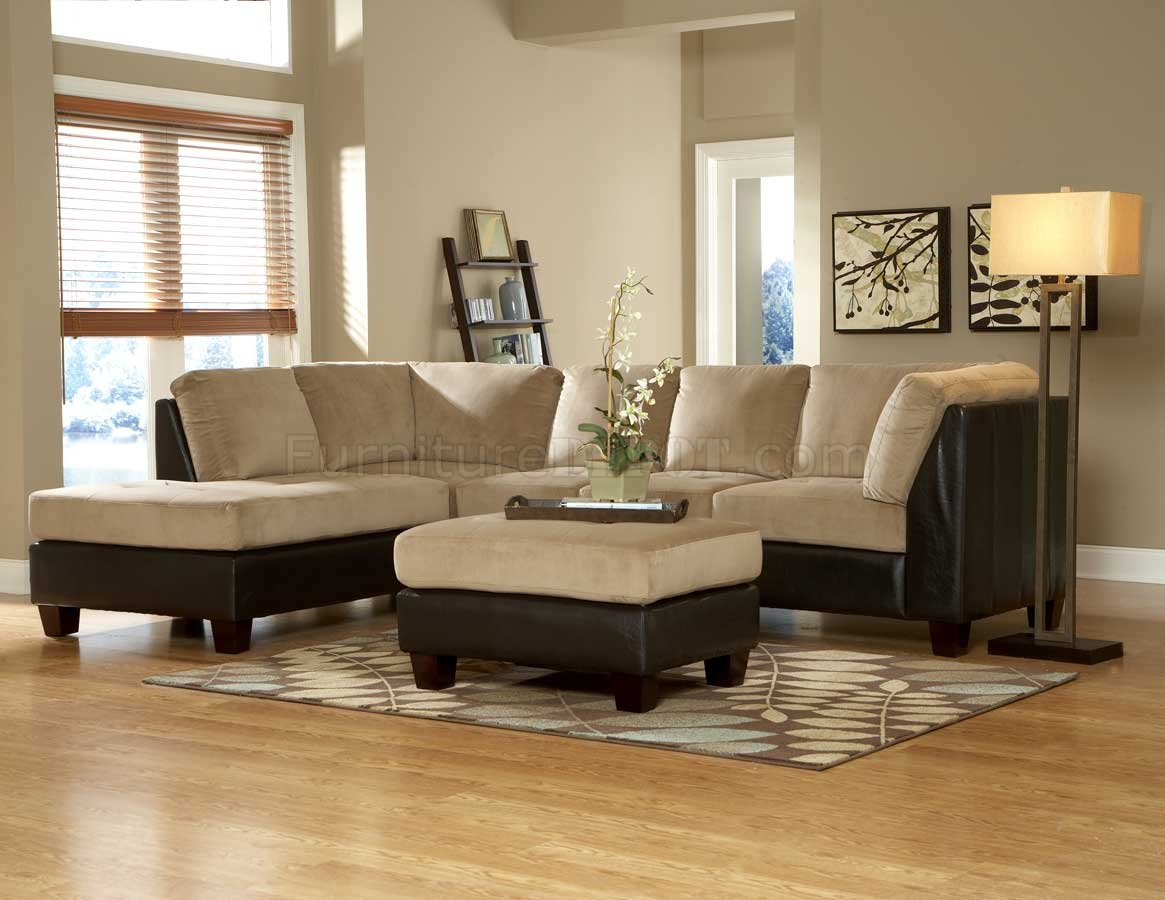 9838br Royce Sectional Sofa In Light Brown Microfiber By Homelegance