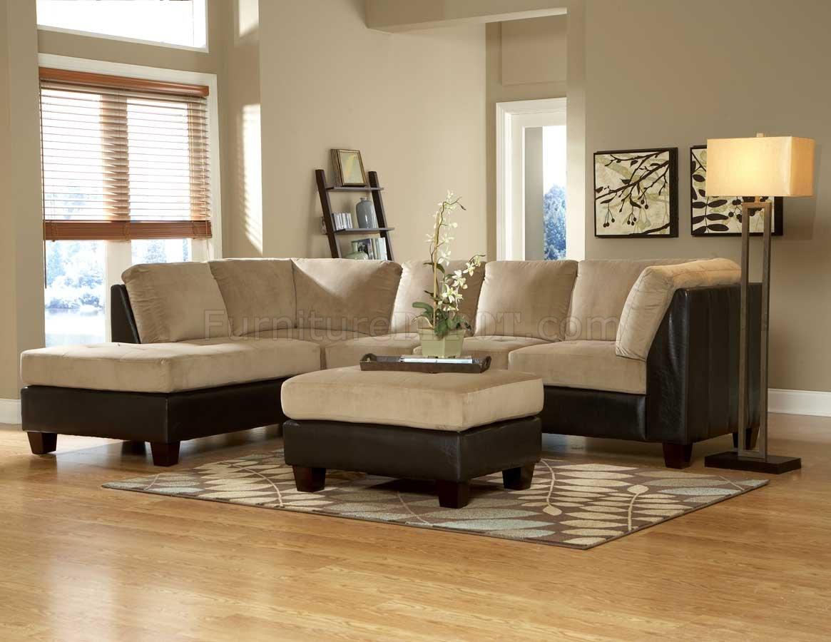 9838br royce sectional sofa in light brown microfiber