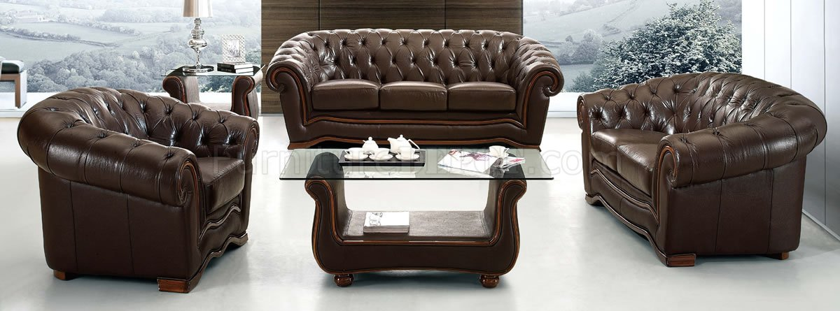Formal Living Room Couches brown genuine leather formal living room sofa w/tufted seats