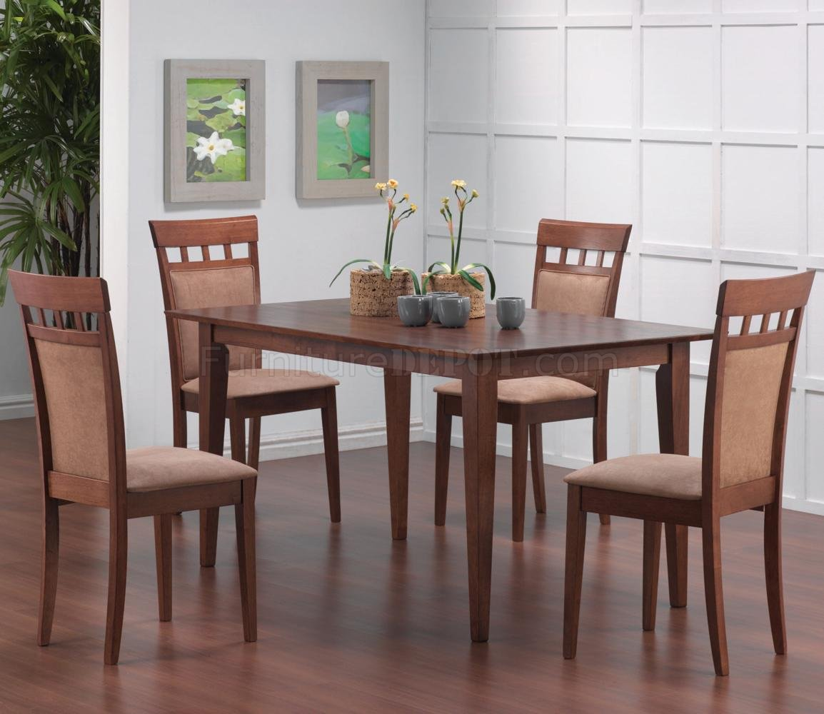 walnut finish modern 5pc dining set w optional back chairs crds 101771