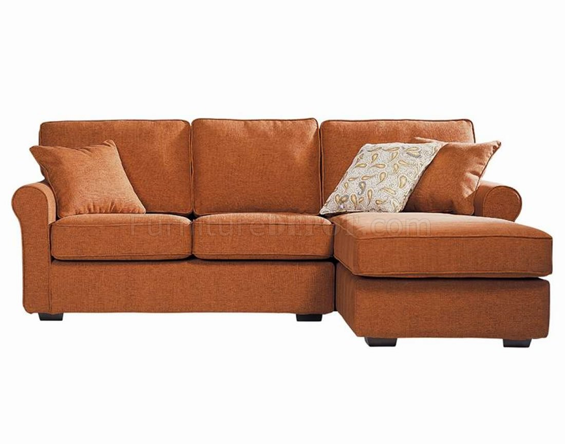 contemporary small sectional sofa in orange fabric