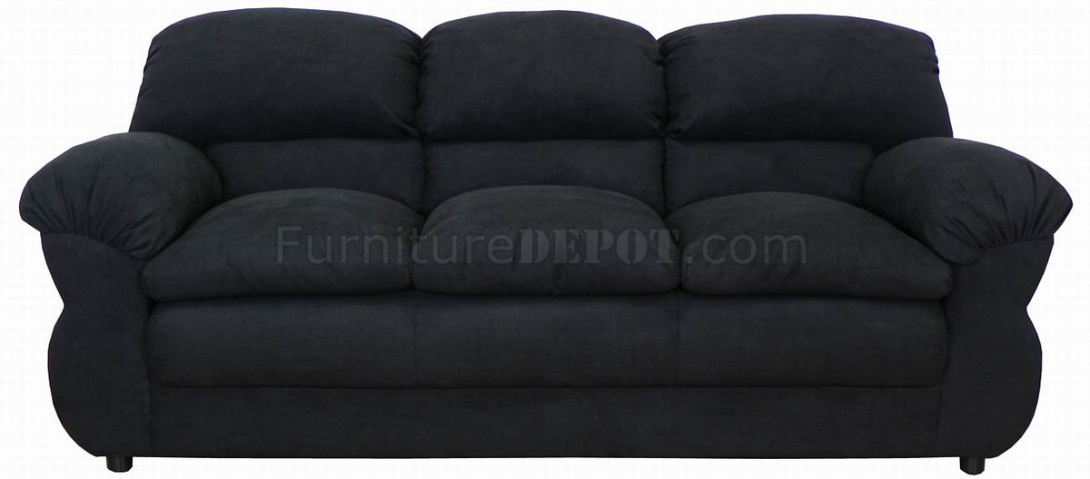 Black fabric modern loveseat sofa set w options for Black fabric couches