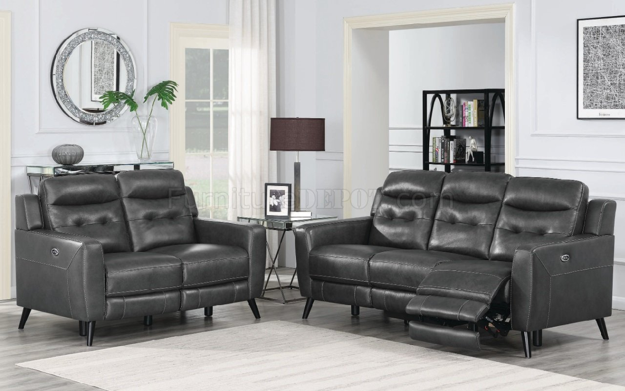 Lantana Power Recliner Sofa 603384p In Charcoal By Coaster