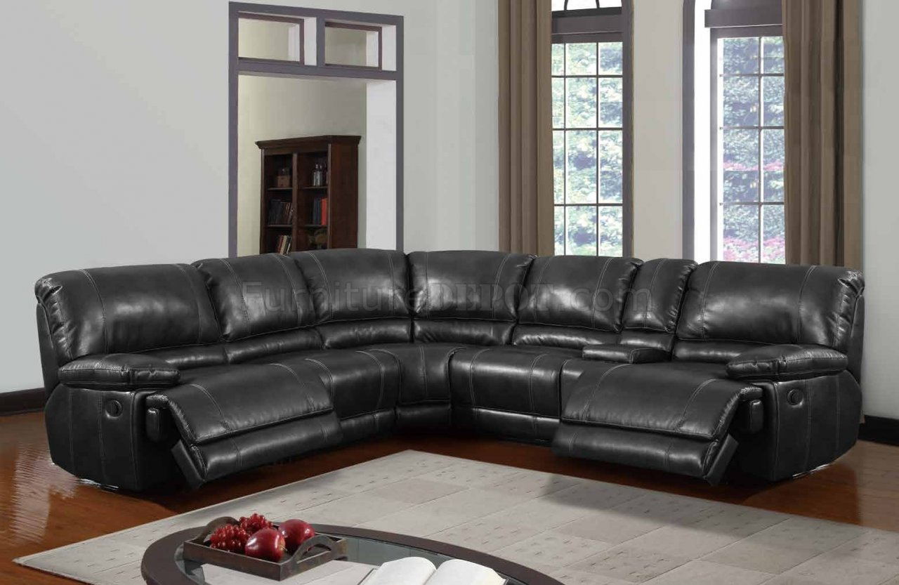 U1953 Power Motion Sectional Sofa Black Bonded Leather By Global