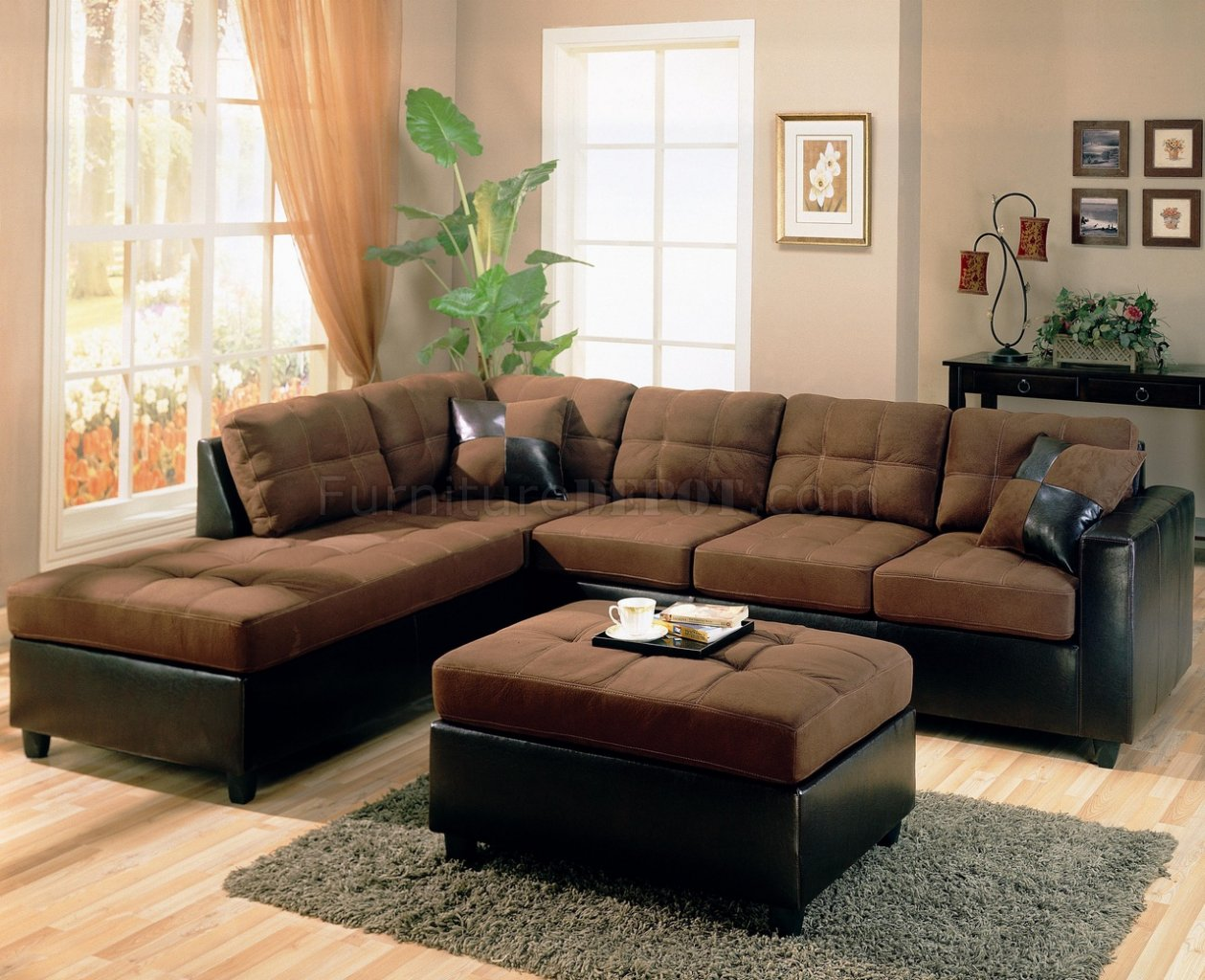 Two tone modern sectional sofa 500655 chocolate dark brown for Chocolate brown couch living room ideas