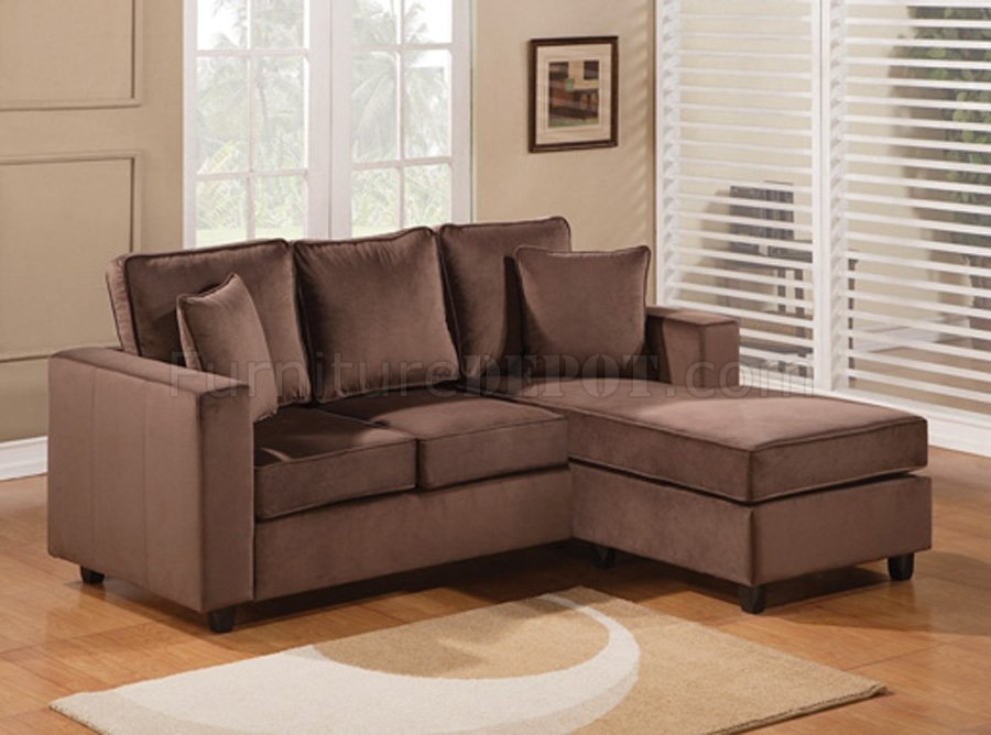 Willa Sectional Sofa In Chocolate Microfiber By Acme Furniture