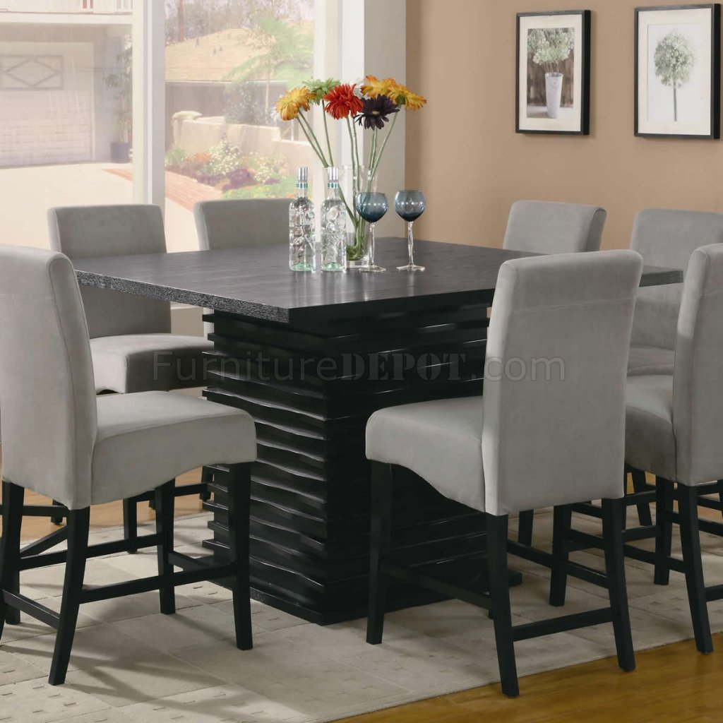 Stanton counter height dining table in black coaster w for Contemporary dining set