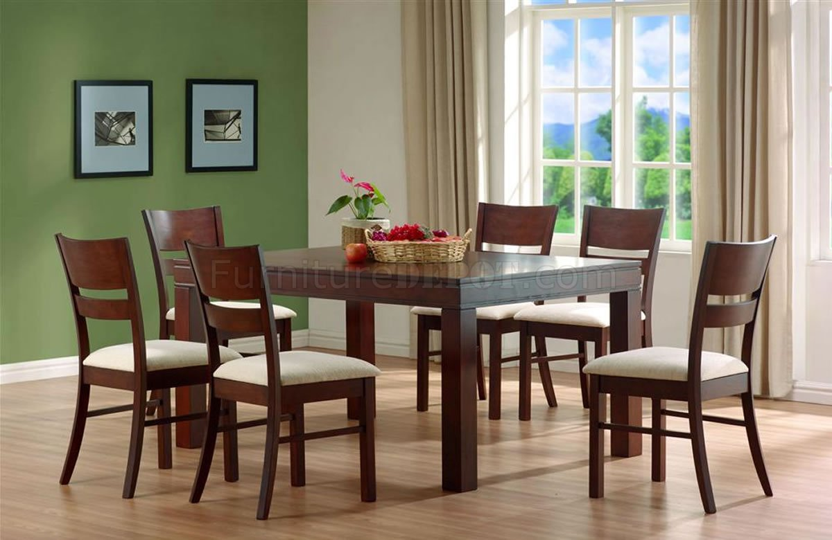 Walnut finish contemporary stylish dinette set for Contemporary dining set