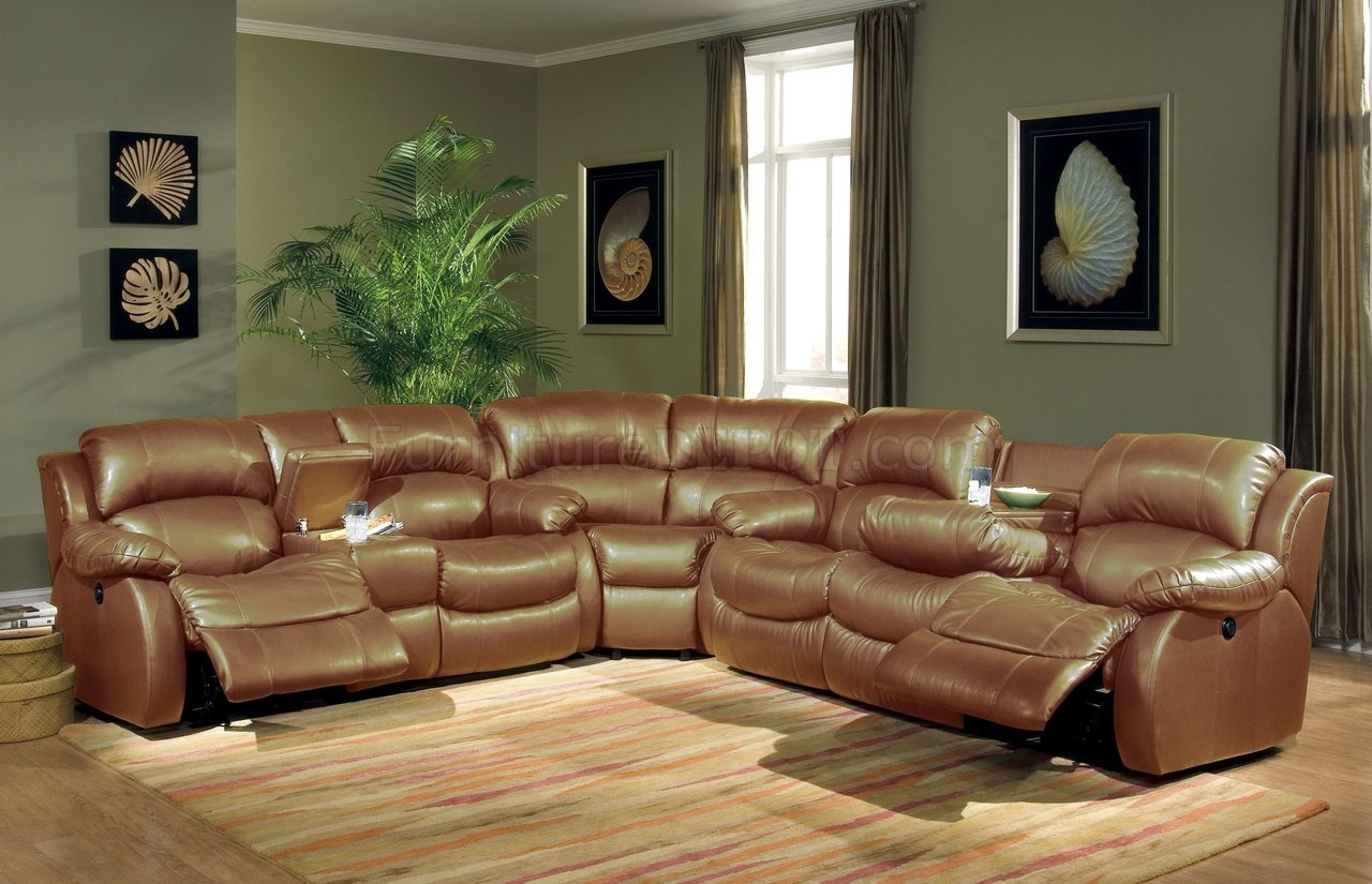 Transitional Brown Bonded Leather Sectional WRecliner Mechanism