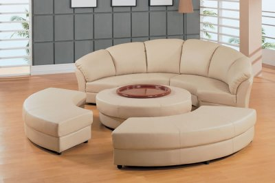 Beige Leather Half Moon Shape Five Piece Sectional Sofa