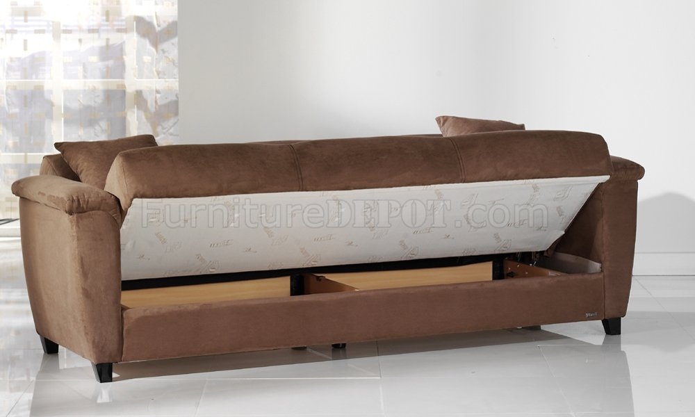 Rainbow Truffle Microfiber Living Room Storage Sleeper Sofa