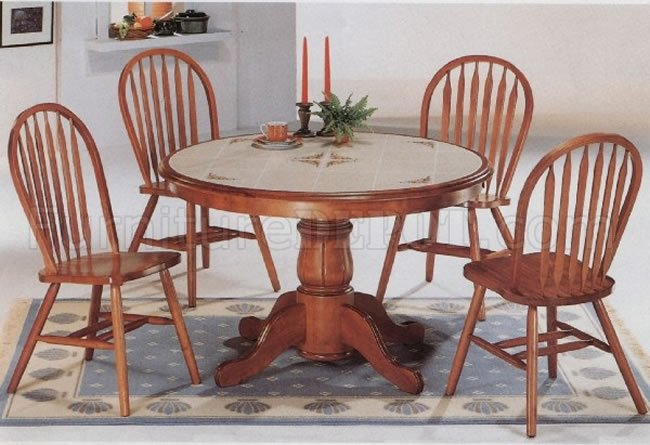 Classic Oak Dining Room Round Table Deluxe Arrow Back Chairs CRDS