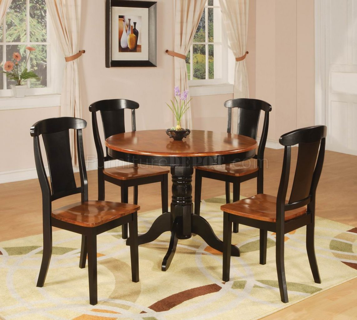 two-tone black & cherry finish modern 5 pc dining set