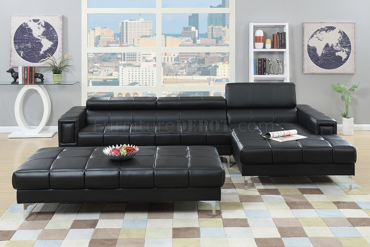 f7363 sectional sofa in black bonded leather by boss