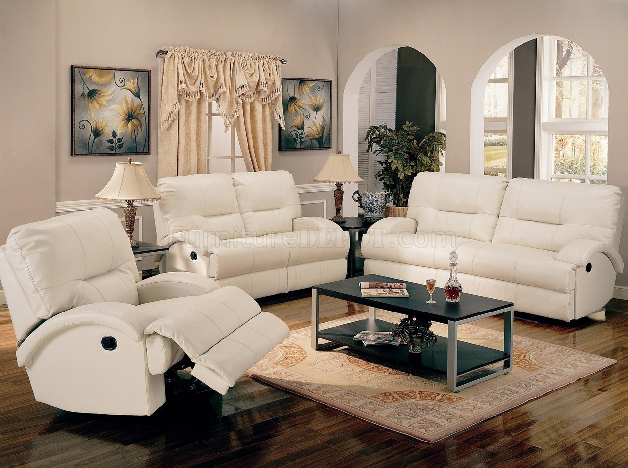 White Bonded Leather Motion Living Room Sofa W Options