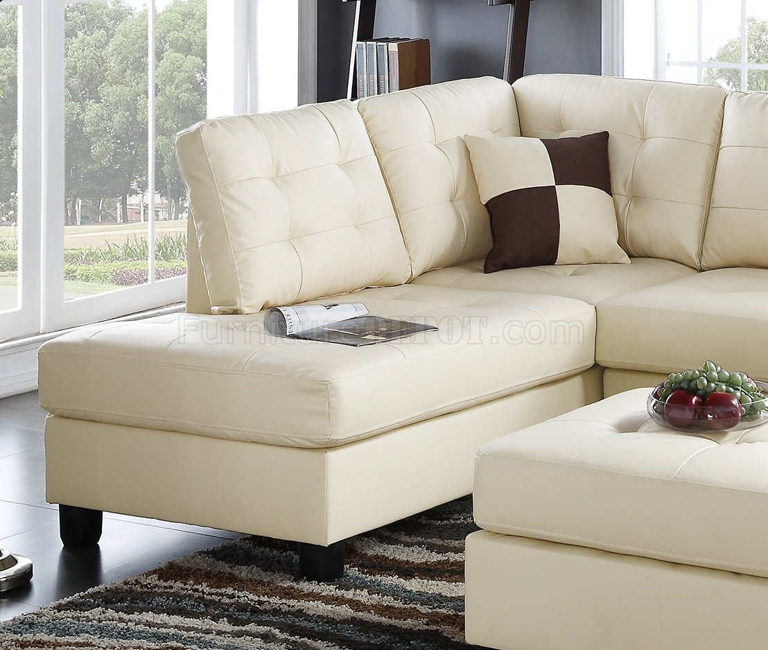 F6856 Sectional Sofa 3pc In Beige Faux Leather By Boss