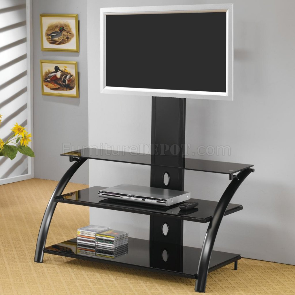 Black Finish Modern TV Stand w/Bracket & Metal Frame