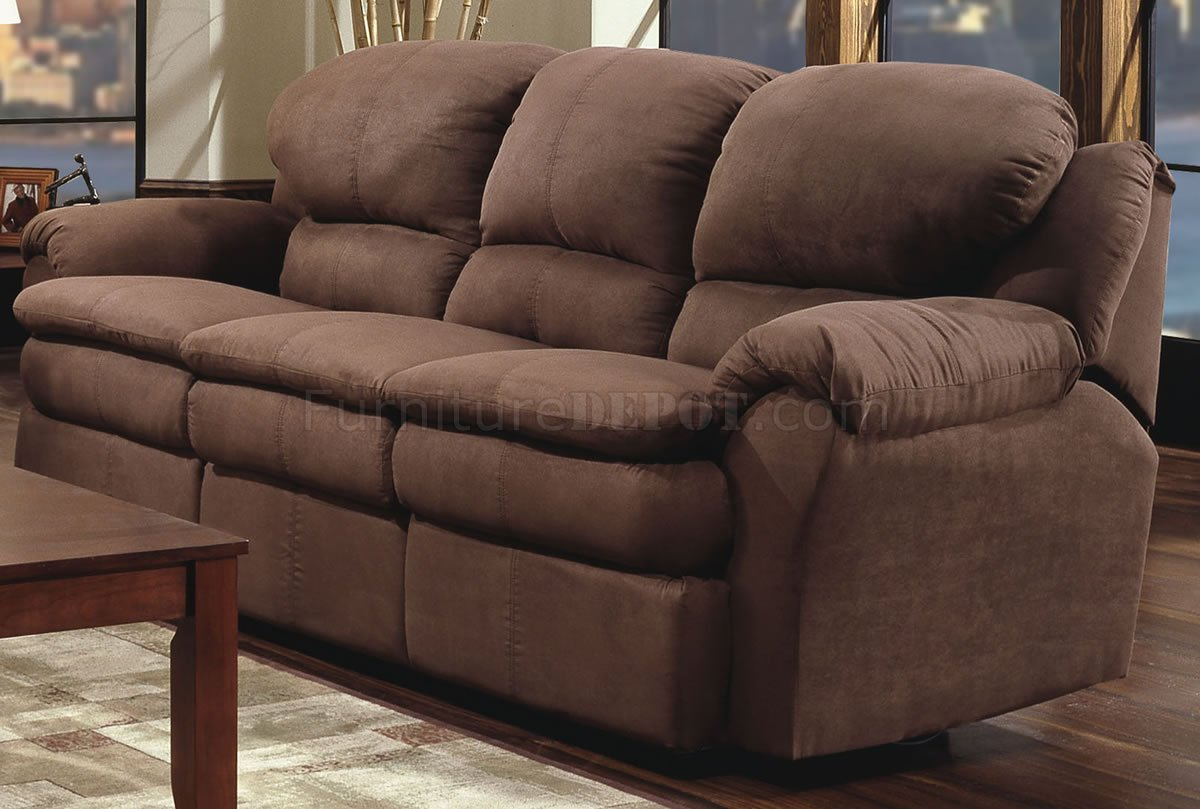 Chocolate microfiber modern double reclining sofa loveseat set Brown microfiber couch and loveseat