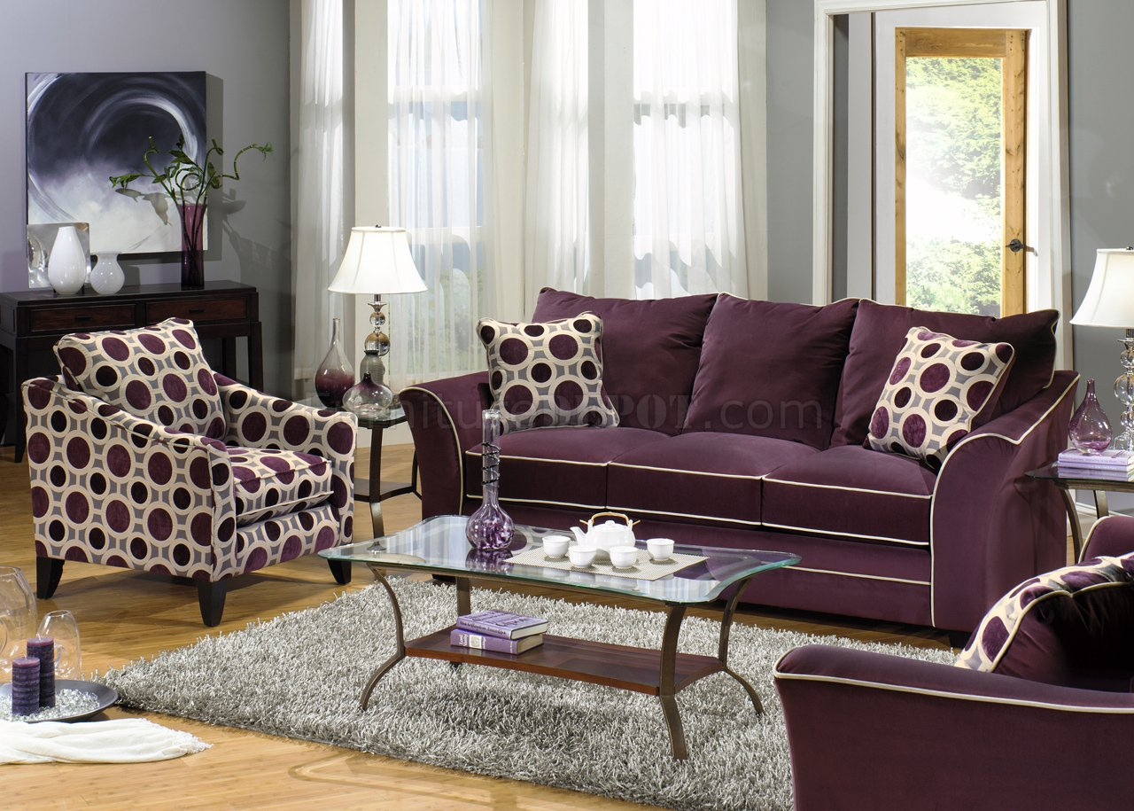 Eggplant Suede Fabric Modern Sofa & Loveseat Set w Options