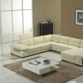 Beige Leather Modern Sectional Sofa w/Storage Shelves