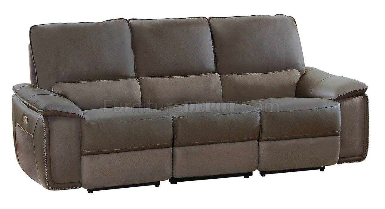 Corazon Power Reclining Sofa 8355 In Gray Leather By