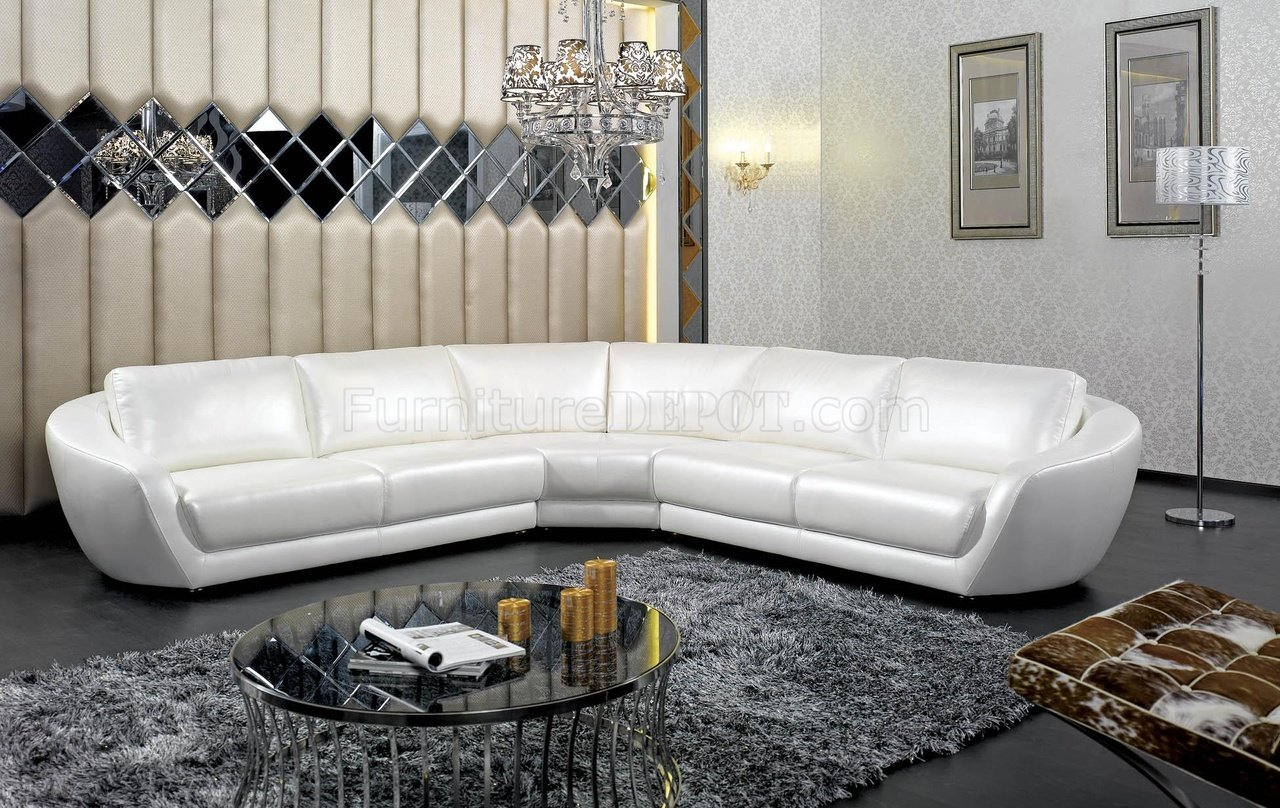 K8346 Sectional Sofa In White Italian Leather By Vig