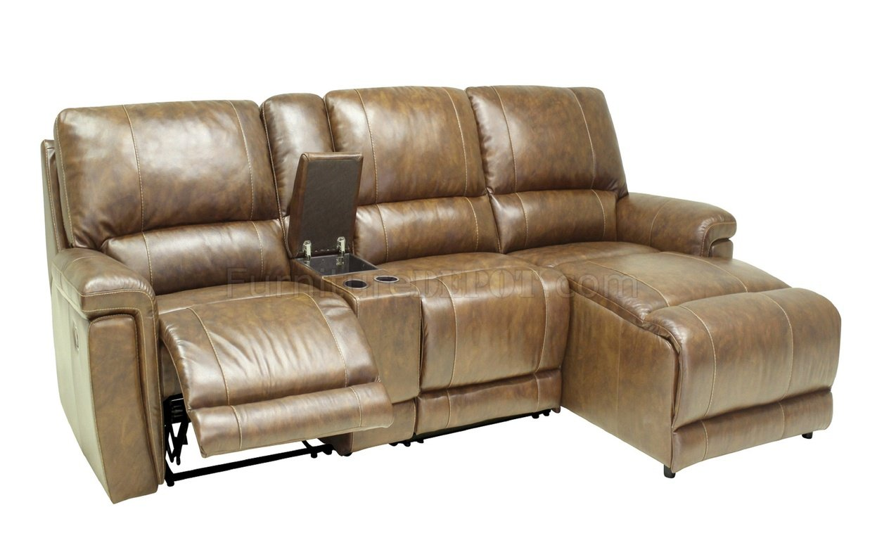Hazelnut Full Leather 4pc Modern Reclining Sectional Sofa