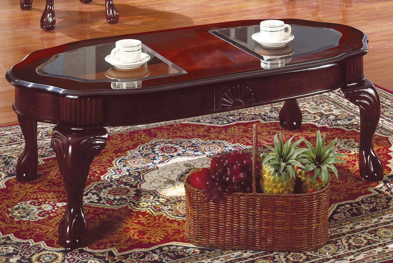 Rich cherry traditional 3pc coffee table set w glass inserts Traditional coffee table