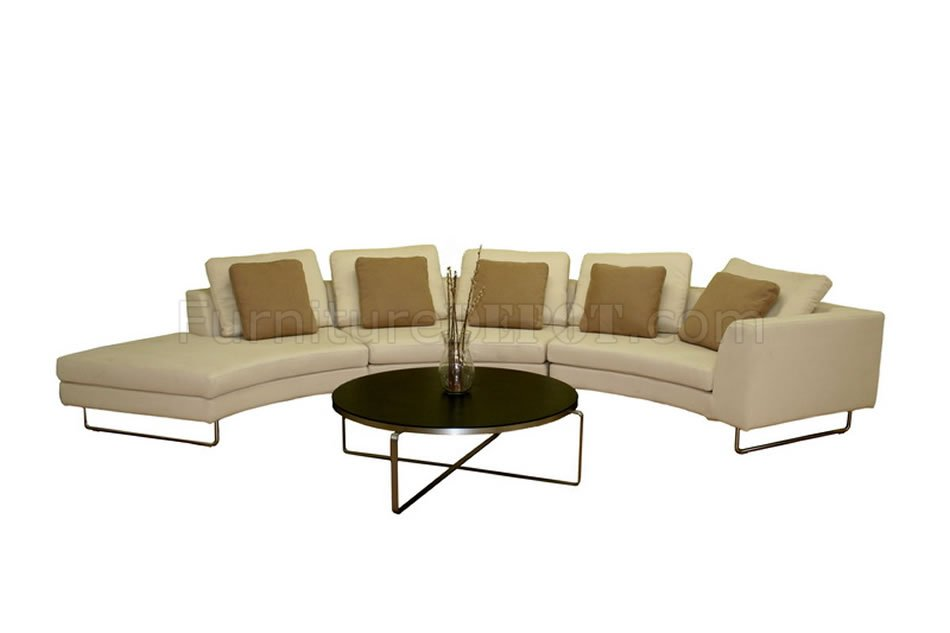Half Moon Shape Microfiber Sectional Sofa Coffee Table Set