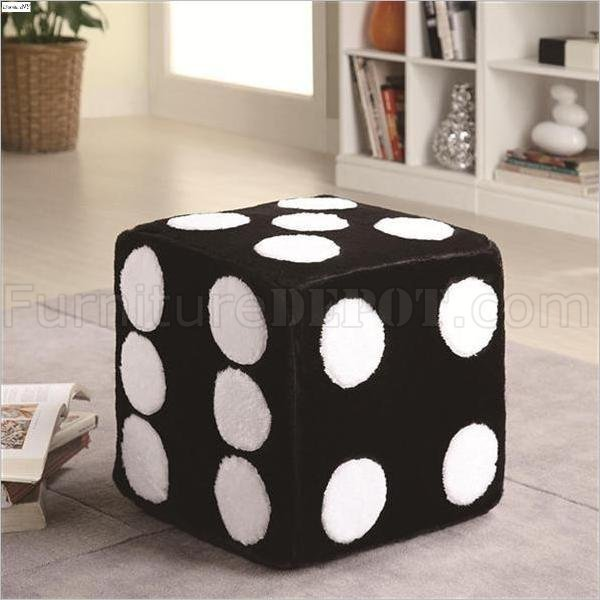 Superb Black White Plush Foam Fabric Modern Ottoman Machost Co Dining Chair Design Ideas Machostcouk