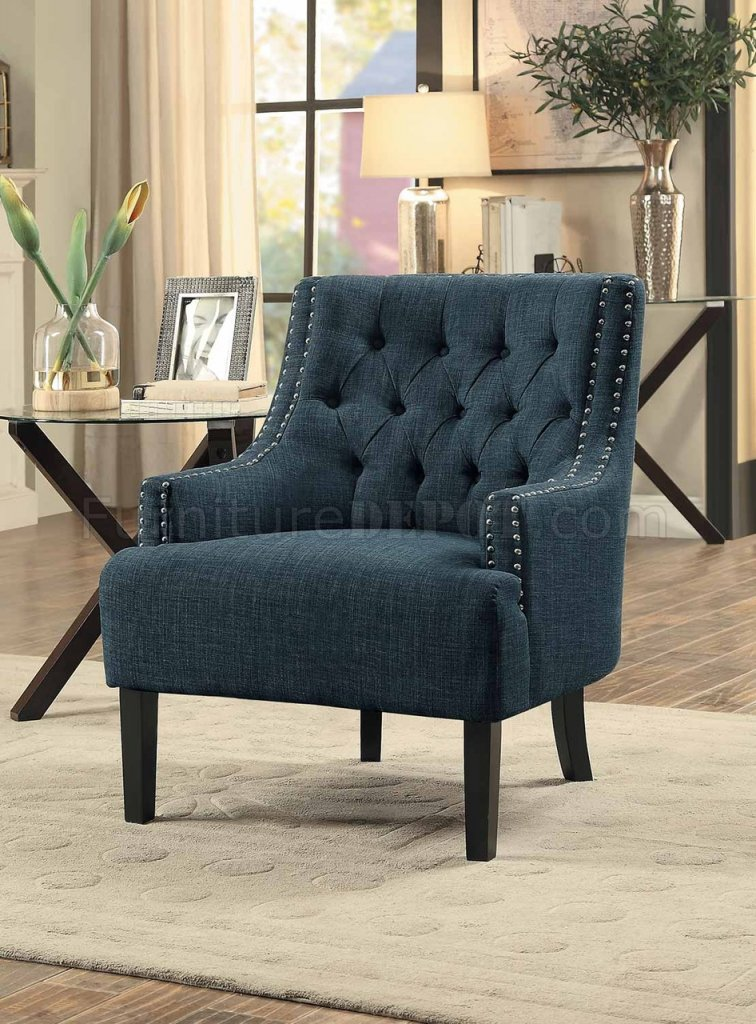 Charisma Accent Chair 1194in In Indigo Fabric By Homelegance