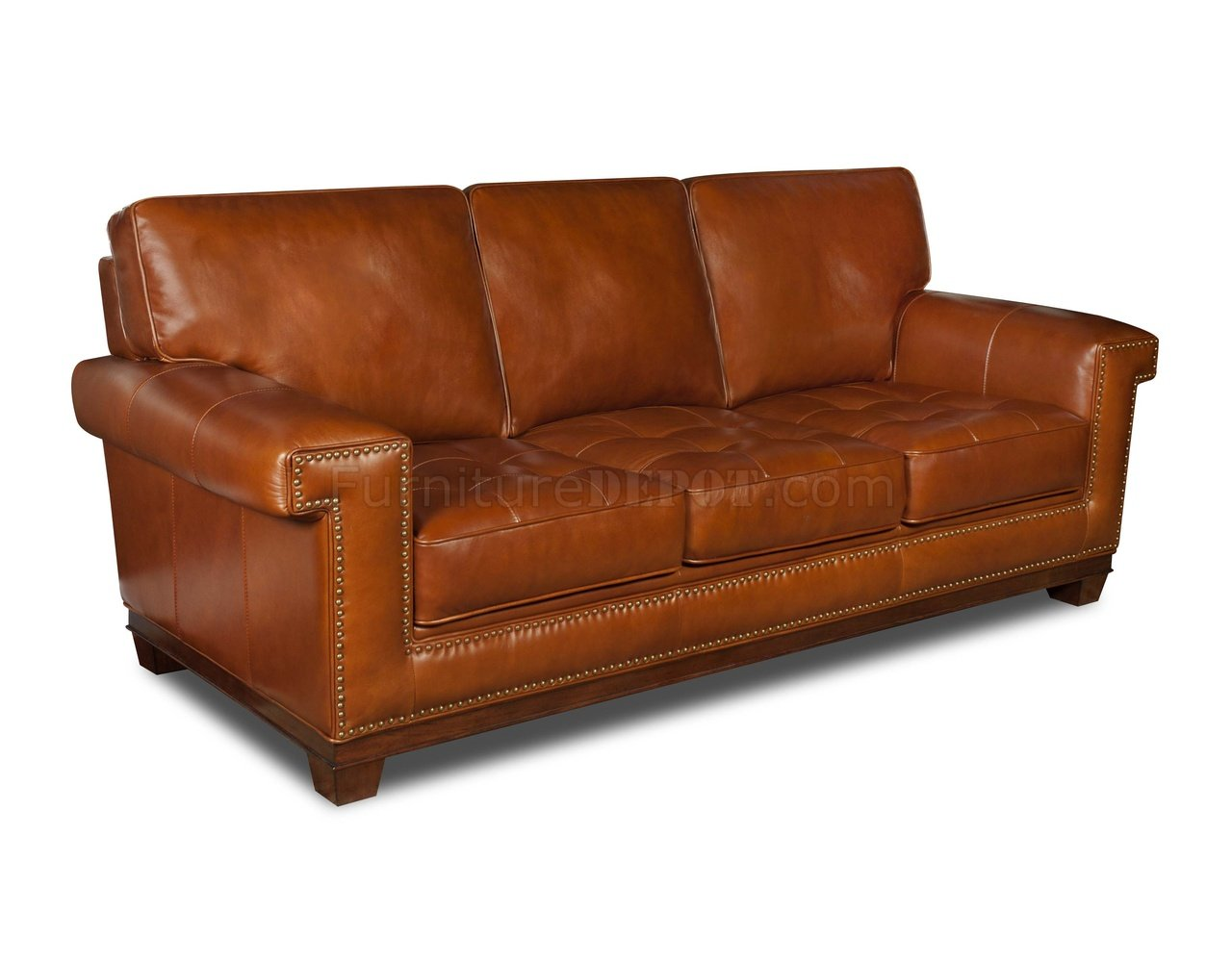 Rustic top grain leather modern sofa w optional items for Leather furniture