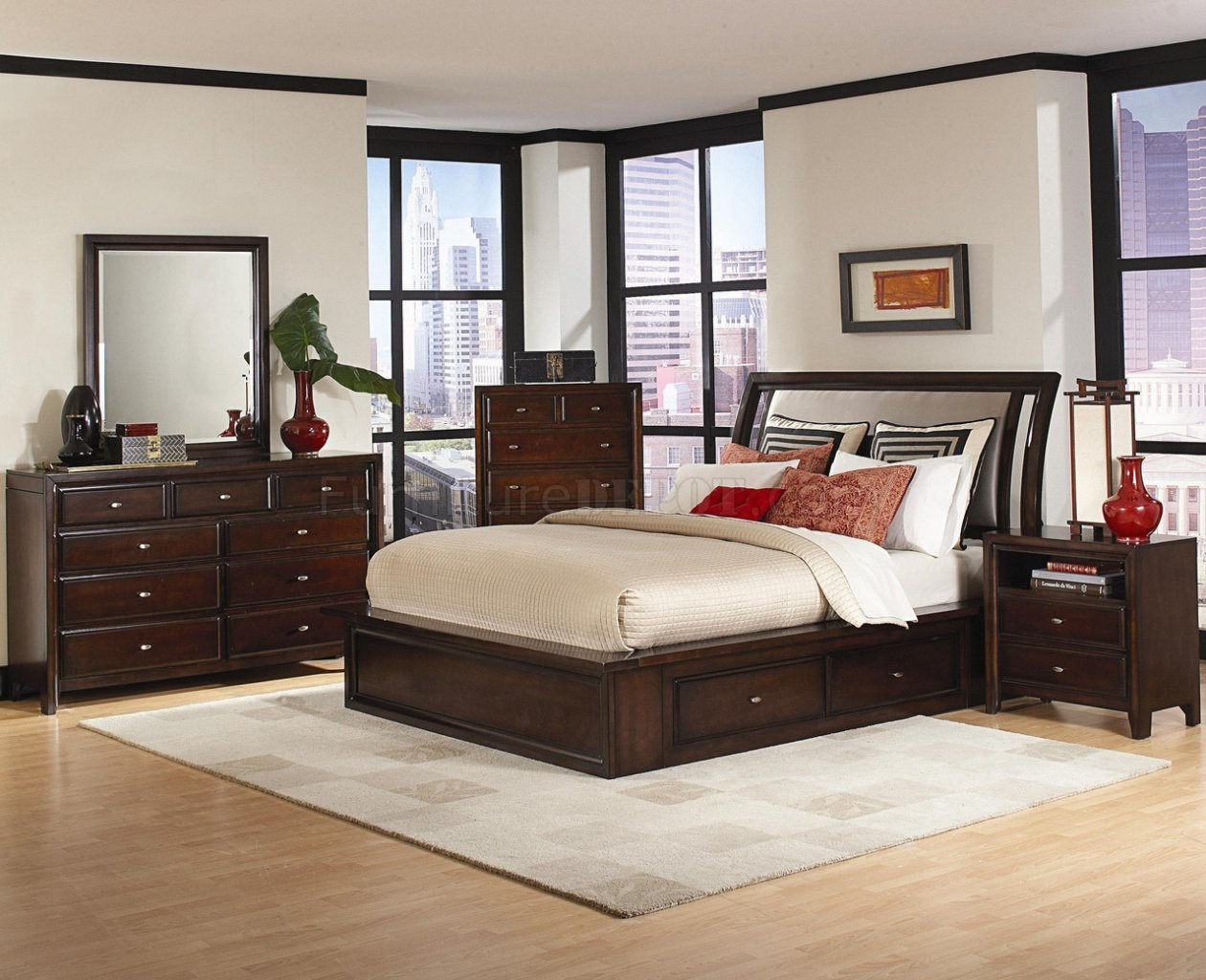 Distressed Cherry Finish Contemporary Bedroom WStorage Bed