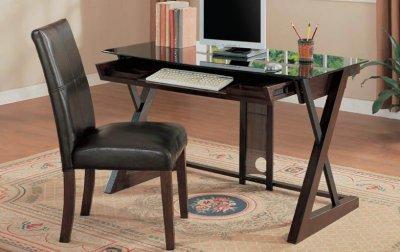 Espresso Finish Modern X-Leg Writing Desk w/Chair