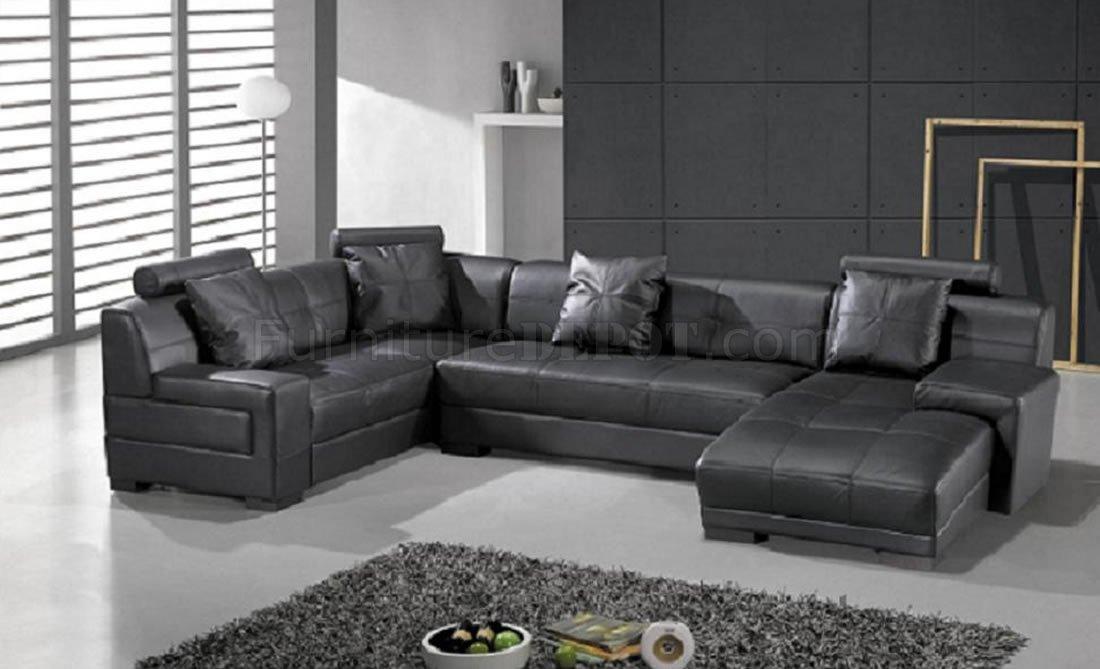Black Leather Modern Sectional Sofa W Adjustable Headrest