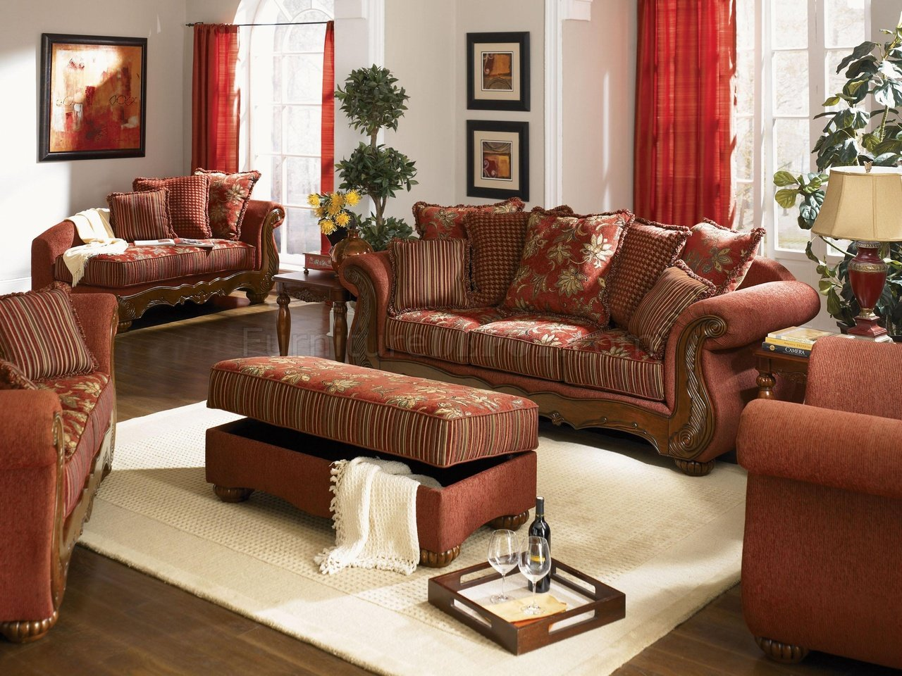 appealing traditional fabric sofas living room furniture | Chenille Fabric Traditional Living Room Savona U142 Red