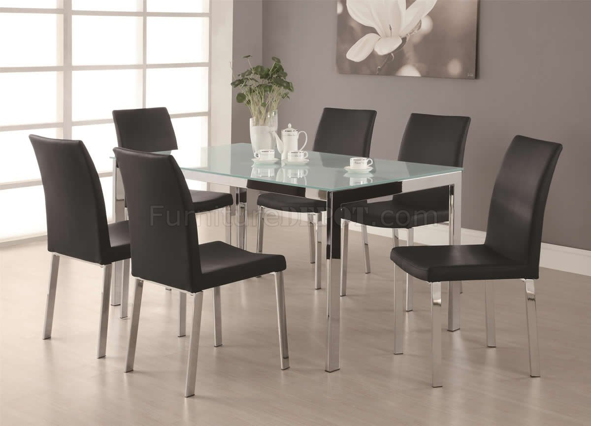 Frosted glass top chrome base modern 7pc dining set for Contemporary dining set