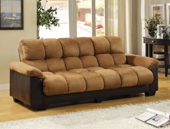 Reviews CM6685 PU Brantford Sofa Bed in Camel Microfiber & Leatherette