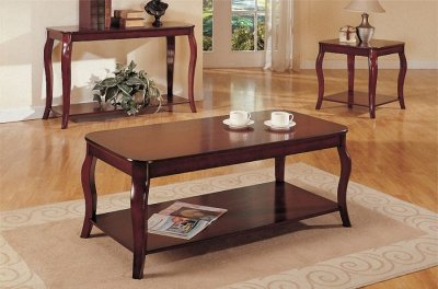 Dark Cherry Coffee Console End Table Set W Additional